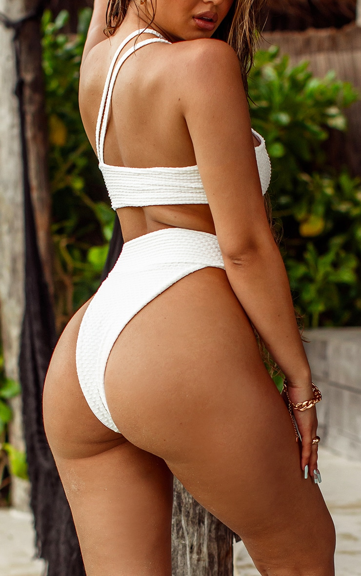 White Waffle Ring High Waist Bikini Bottoms 2