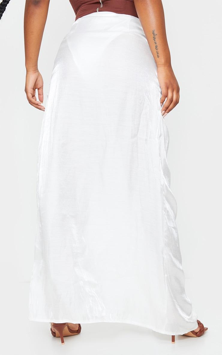 White Sheer Ruched Side Split Leg Maxi Skirt 3