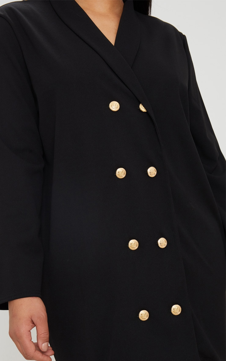 Plus Black Gold Button Oversized Blazer Dress 4