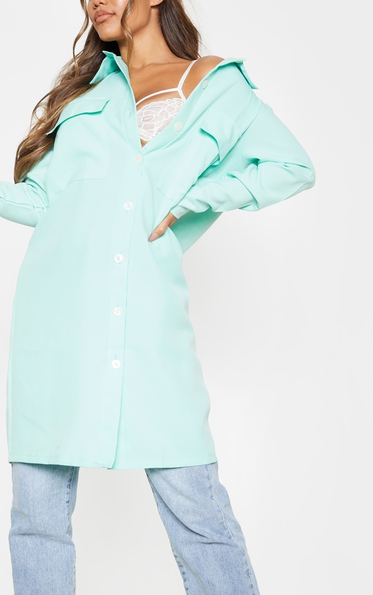 Mint Pocket Detail Longline Shirt 1