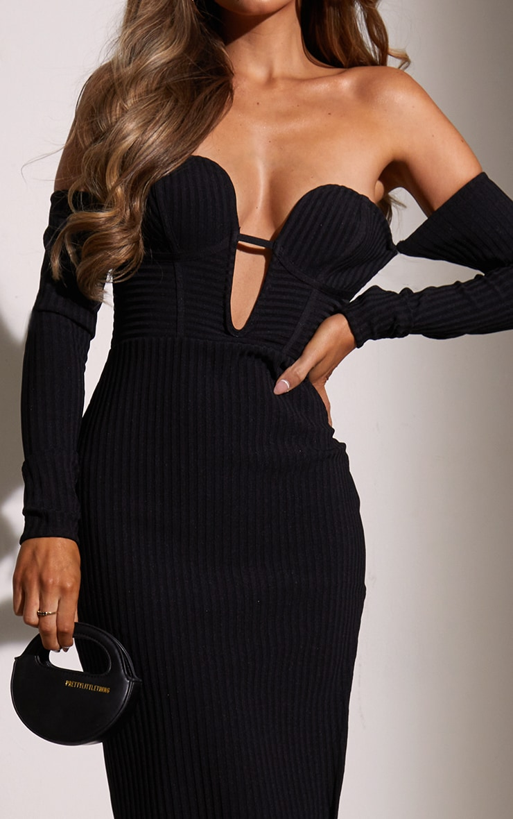 Black Bandage Ribbed Bardot Plunge Midaxi Dress 4