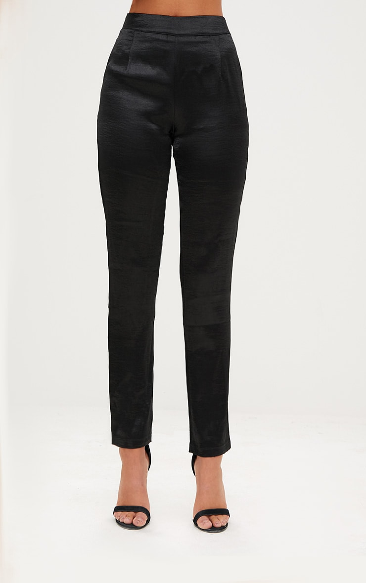 Black Hammered Satin Trousers 2
