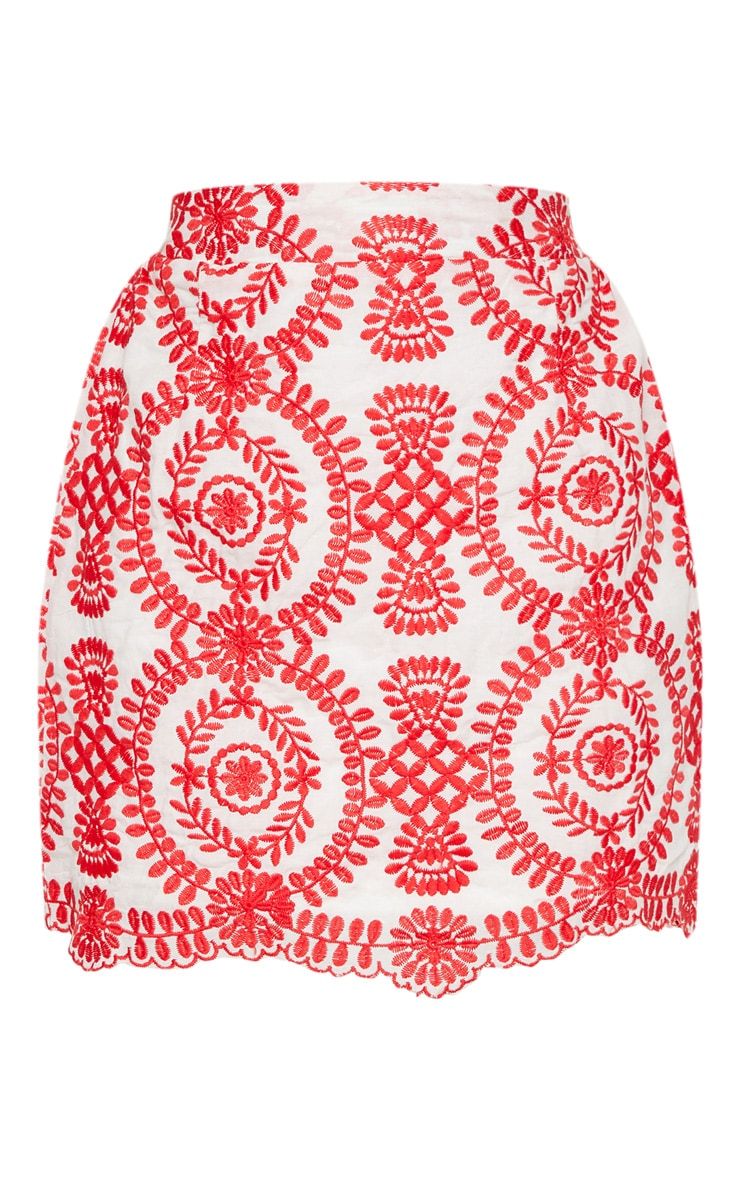 Petite Red Embroidered Mini Skirt 3
