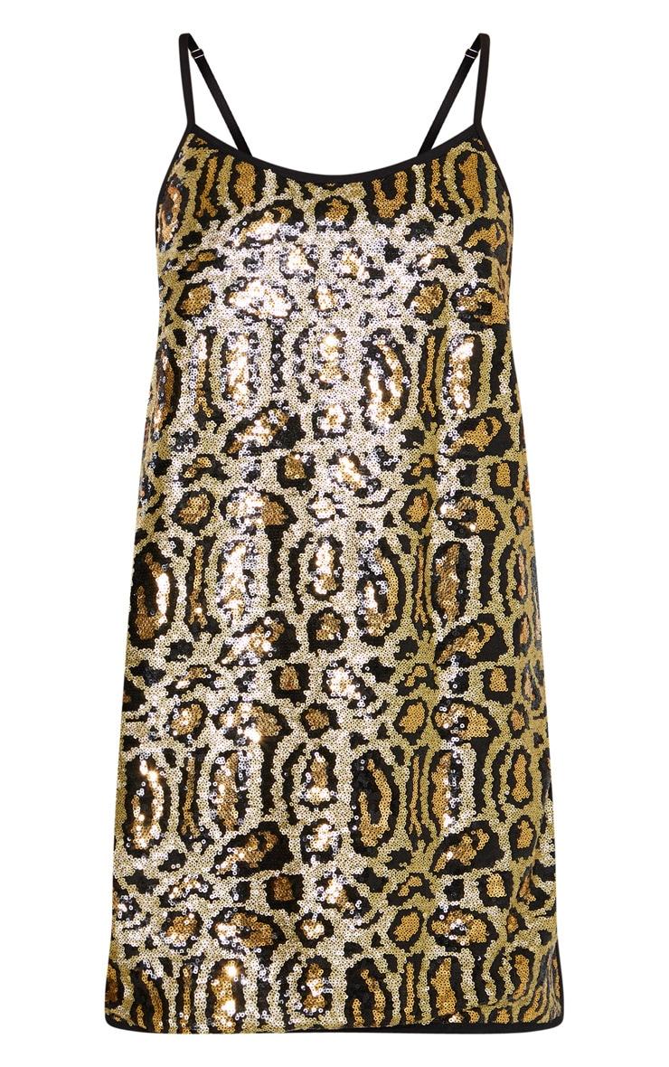 Gold Tiger Sequin Split Leg Shift Dress  3
