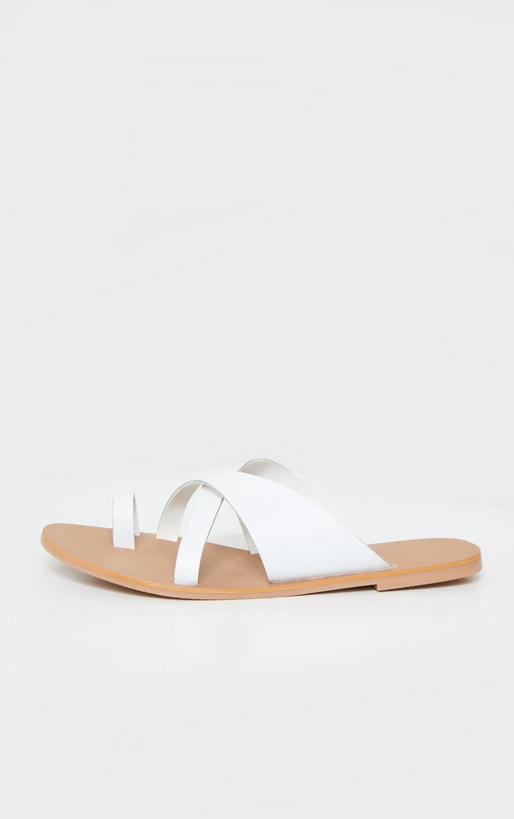 White Wide Fit Leather Cross Strap Toe Loop Sandals 4