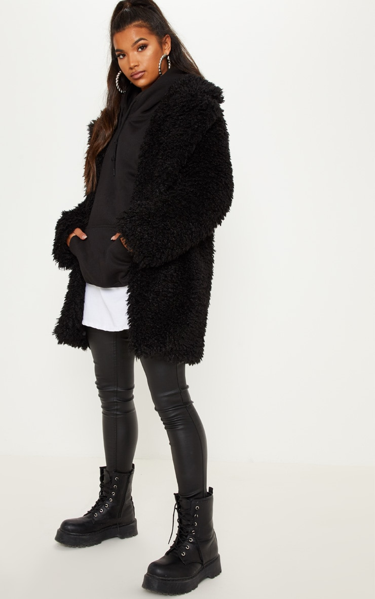 58daceb86 Black Teddy Faux Fur Coat