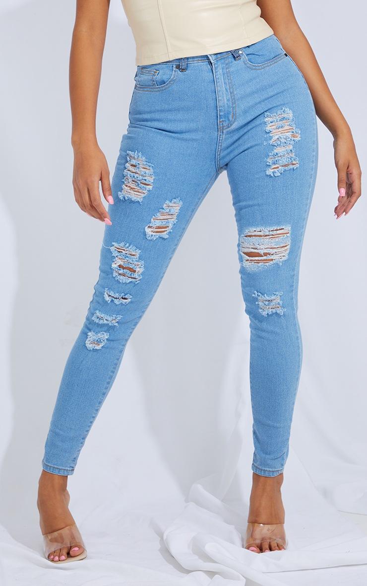Shape Light Blue Wash Extreme Distressed Stretch Skinny Jean 2