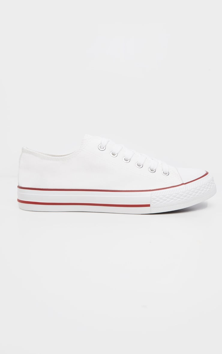 White Stripe Lace Up Canvas Sneakers  4
