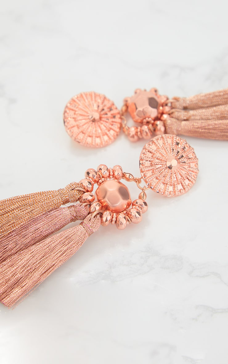 Rose Gold Acrylic Bead Tassel Earring 5
