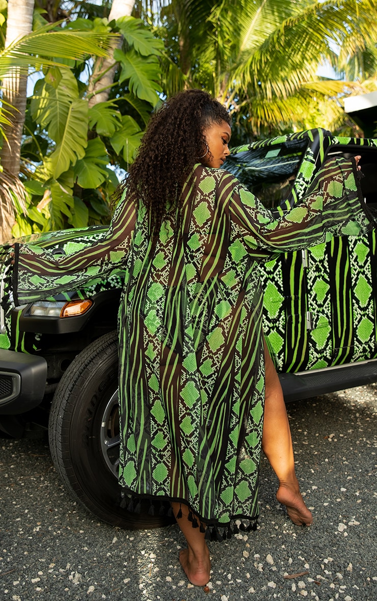 Plus Lime Snake Print Mesh Tassel Kimono 2