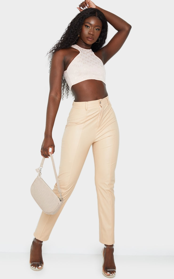 PRETTYLITTLETHING Nude Jacquard Racer Crop Top 3