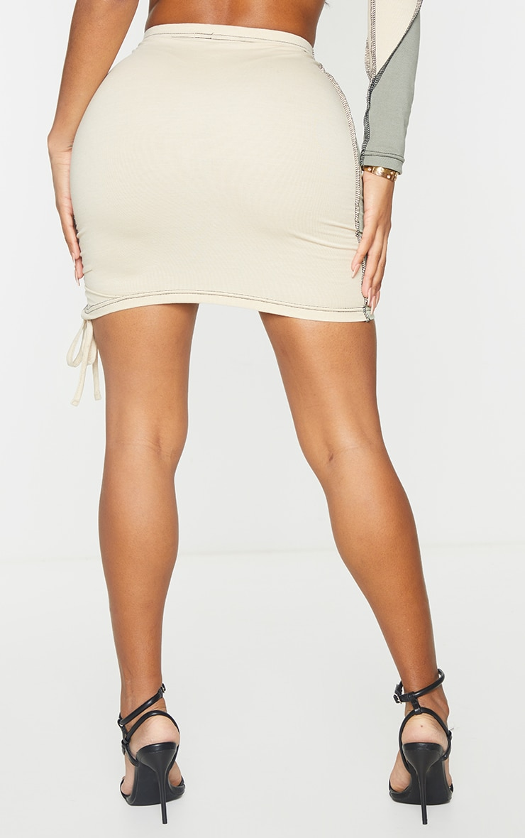 Shape Sage Green Cotton Panel Detail Ruched Side Bodycon Skirt 3