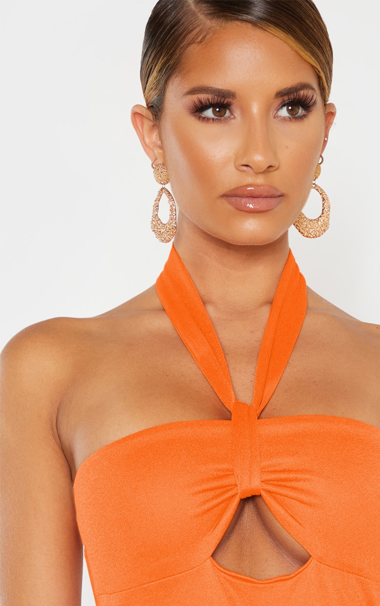 Bright Orange Twist Front Halterneck Bodycon Dress  5