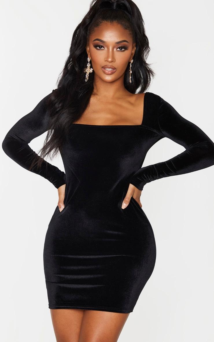 With tights black velvet long sleeve bodycon dress youtube