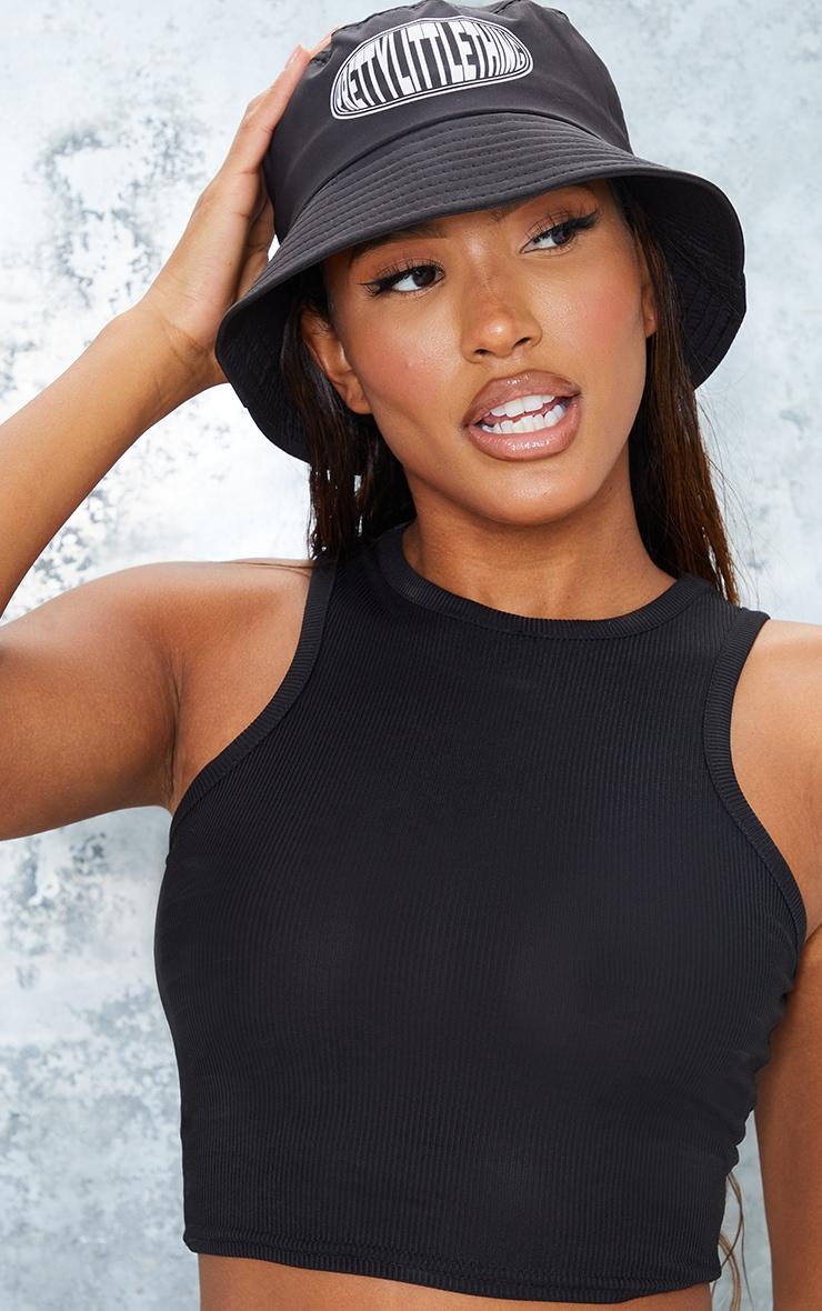 PRETTYLITTLETHING Black Nylon Bucket Hat 1