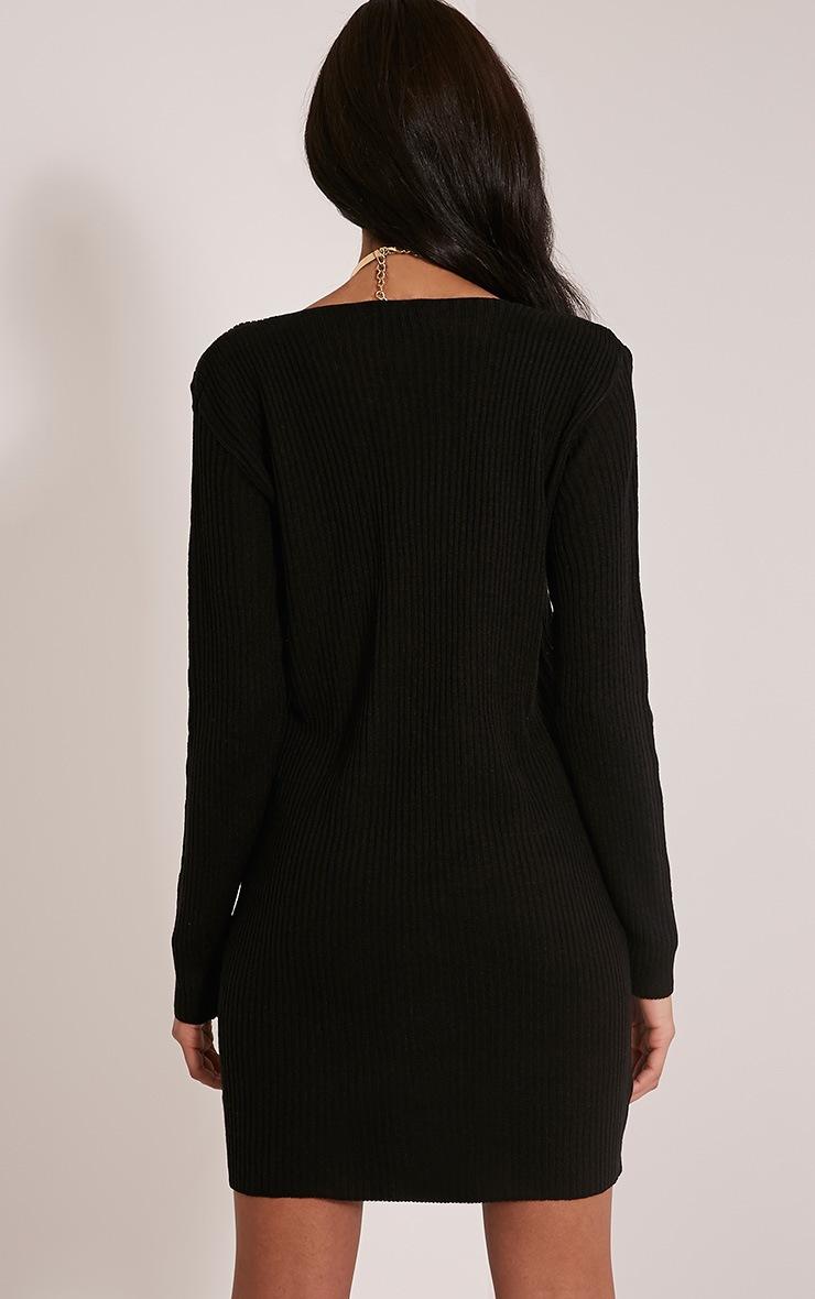Navella robe pull tricotée noire col en V ultra plongeant 2