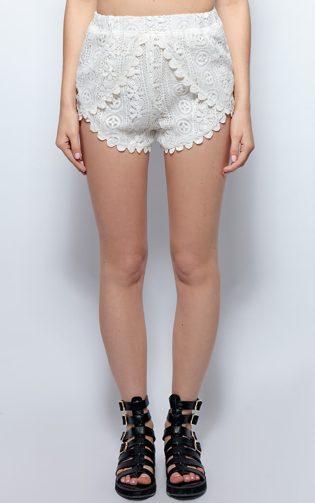 Esme White Crochet Shorts 4