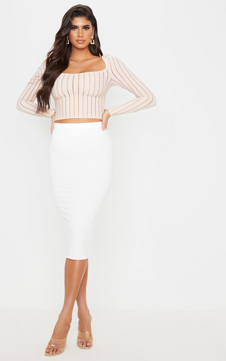 Nude Sheer Rib Ruched Shoulder Crop Top 4