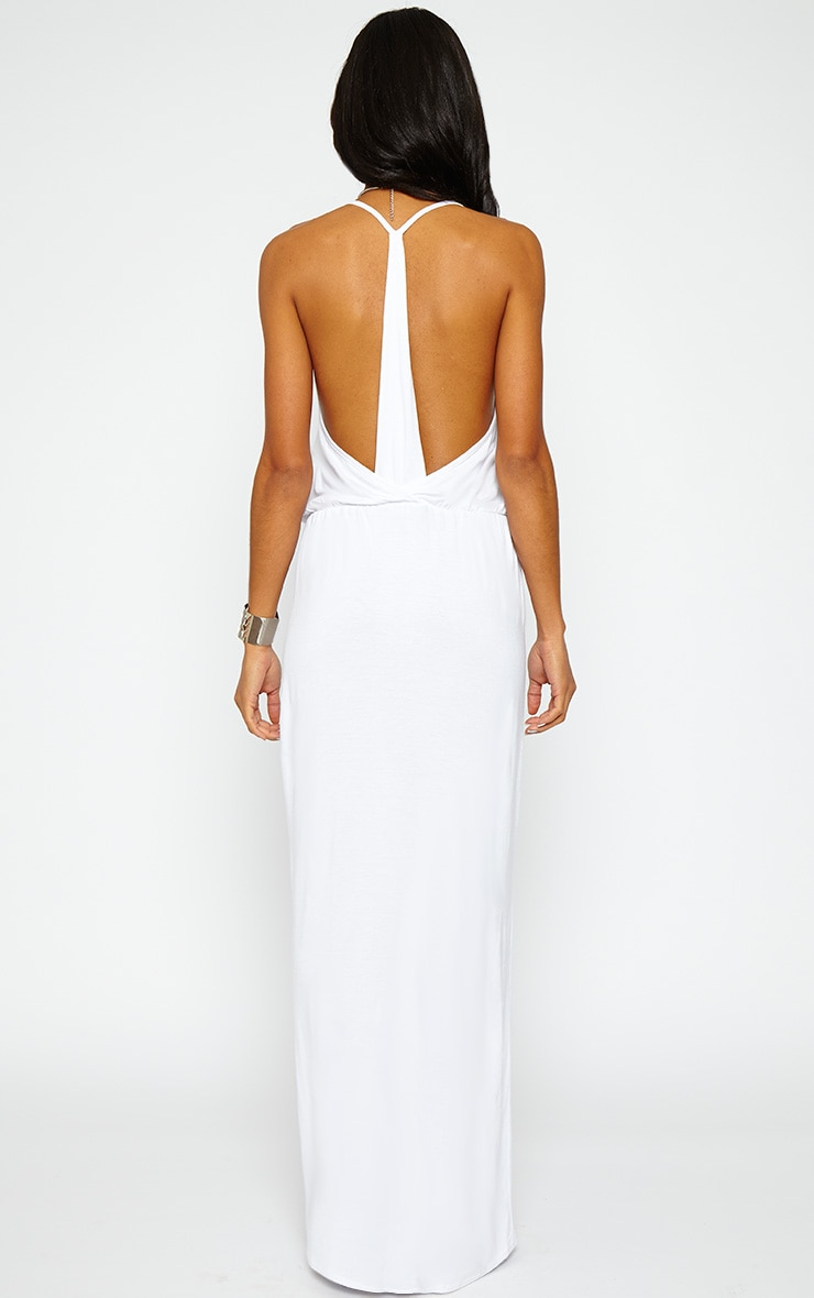 Emillie White T-Bar Back Jersey Maxi Dress 2