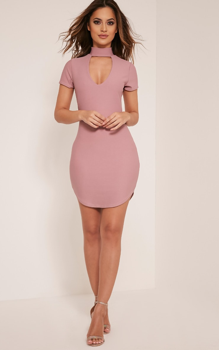 Roria Mauve Neck Detail Capped Sleeve Crepe Bodycon Dress 5