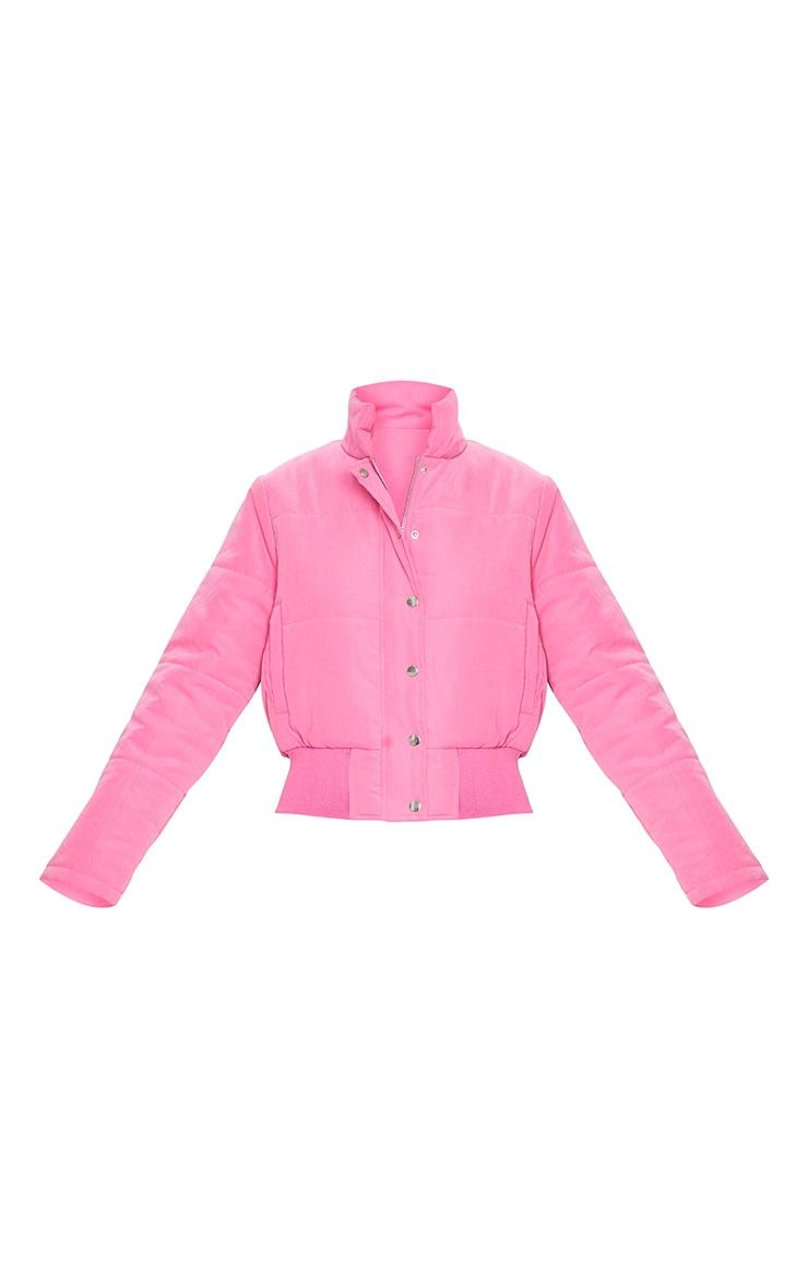 Pink Peach Skin Cropped Puffer Jacket 5