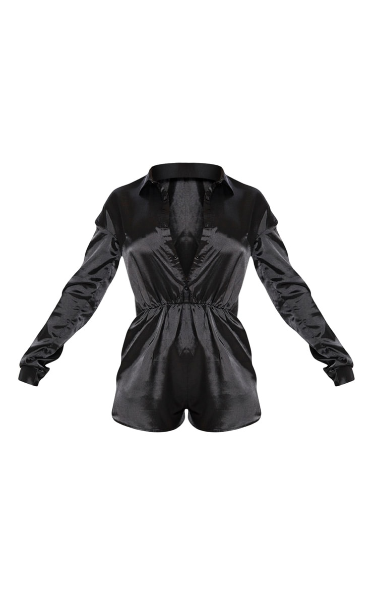 Black Satin Shirt Romper 3