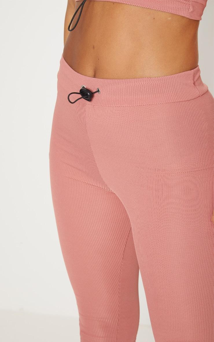 Petite Dusky Pink Ribbed Leggings 5