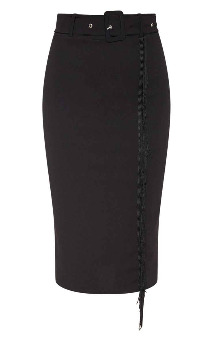 Black Belted Fringe Midi Skirt 3