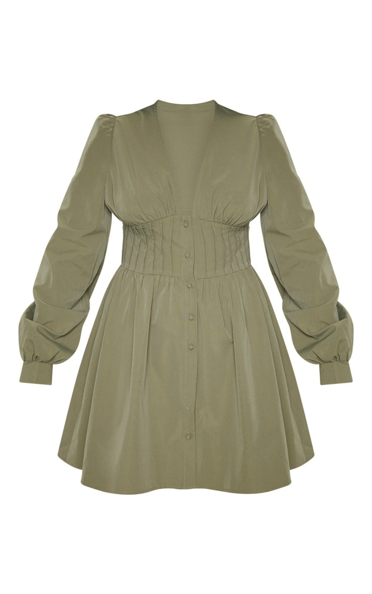 Khaki Button Front Fitted Puff Sleeve Skater Dress 3