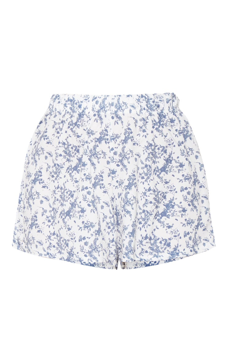 White Floral Print High Waisted Floaty Short 3
