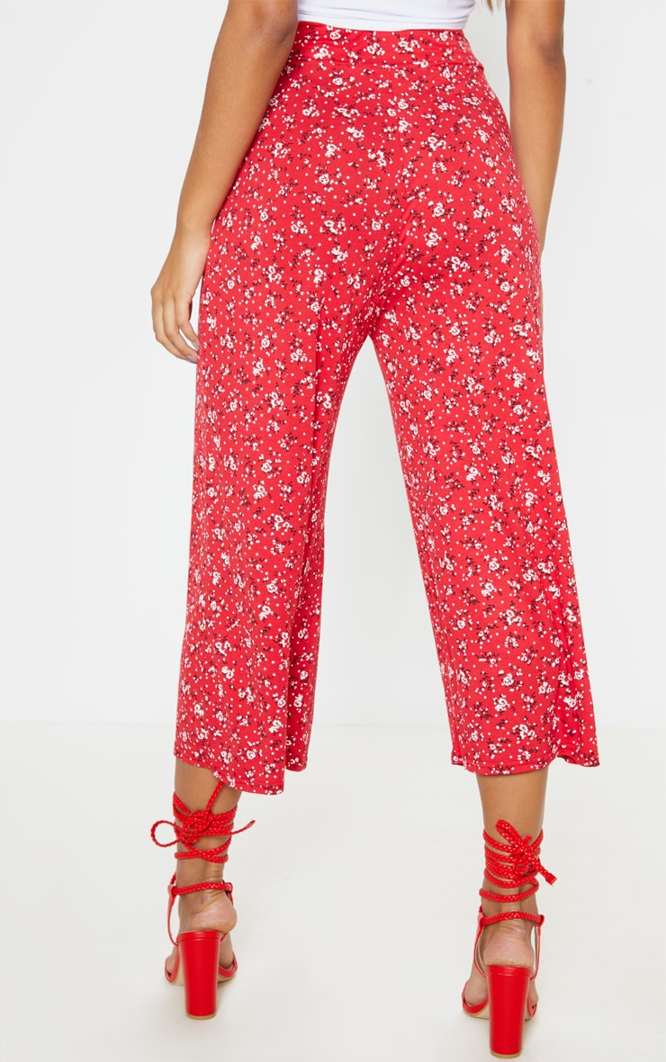 Red Ditsy Floral Printed Basic Culotte 4