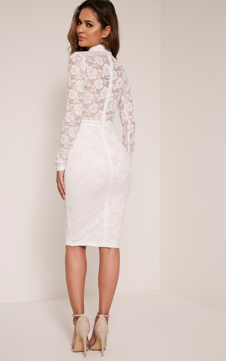 Emely White Neck Detail Cut Out Lace Midi Dress 5