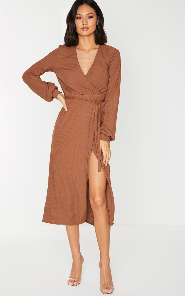 Chocolate Rib Tie Waist Long Sleeve Maxi Dress