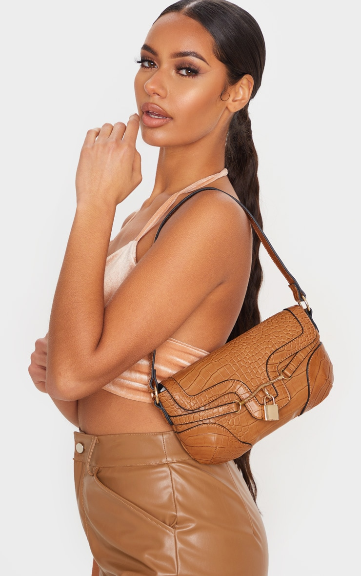 Tan Croc Panel Padlock Shoulder Bag 2