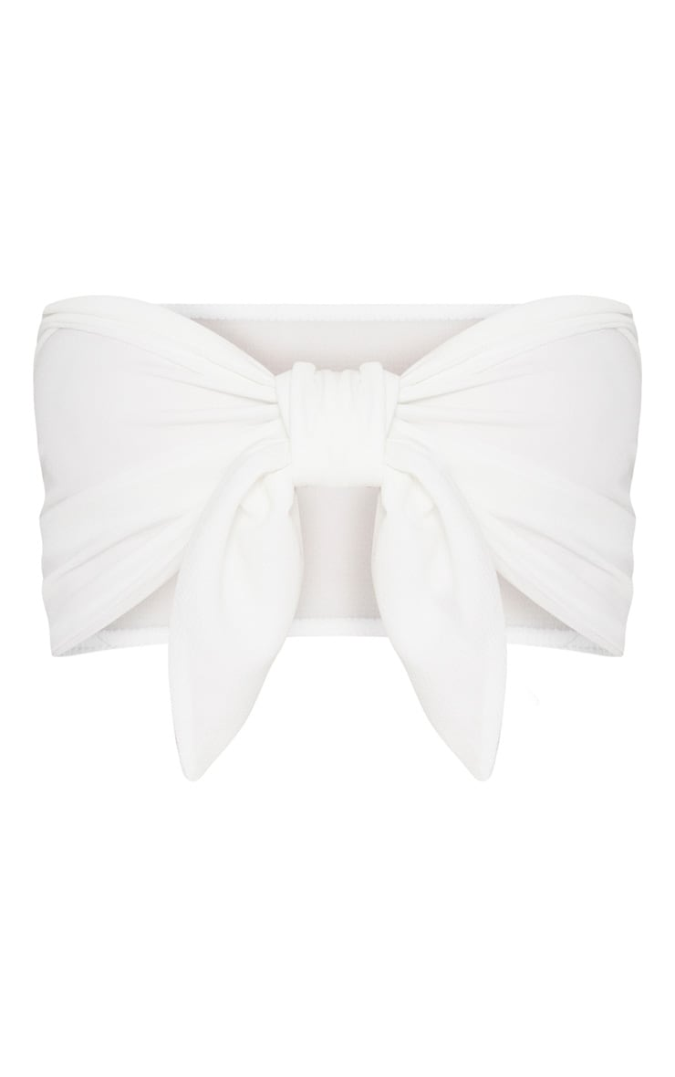 White Crepe Bandeau Tie Front Crop Top 3