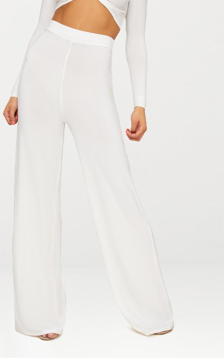 Cream Slinky Wide Leg Pants  2
