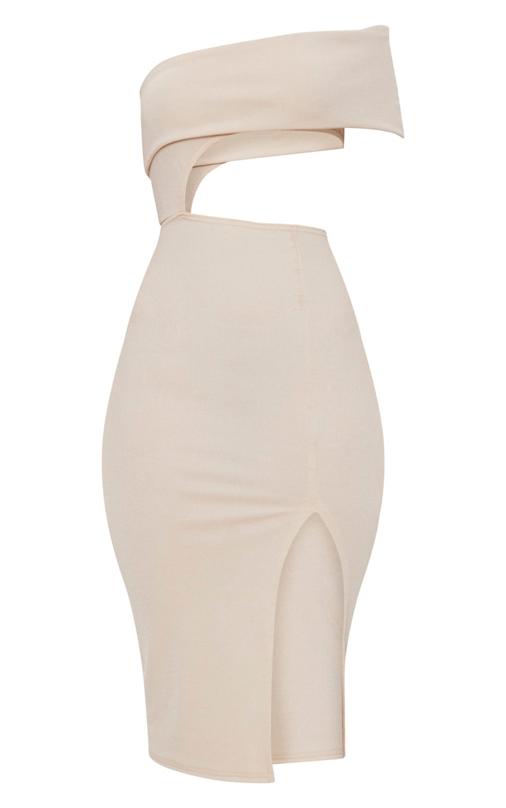 Stone One Shoulder Asymmetric Cut Out Midi Dress 3