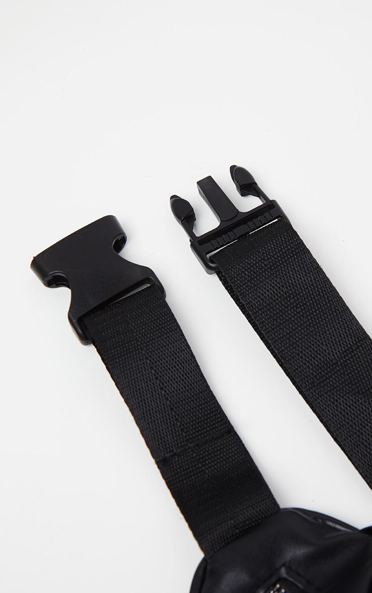 Sacoche banane noire en similicuir à zip et poches multiples  3