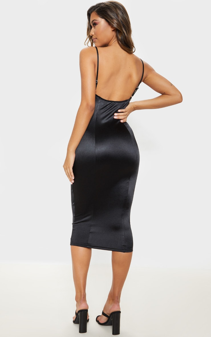 Black Satin Cup Detail Hook & Eye Midi Dress  2