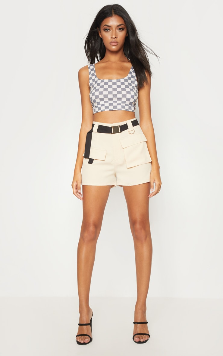 Stone Belted Waist Cargo Pocket Front Shorts 1