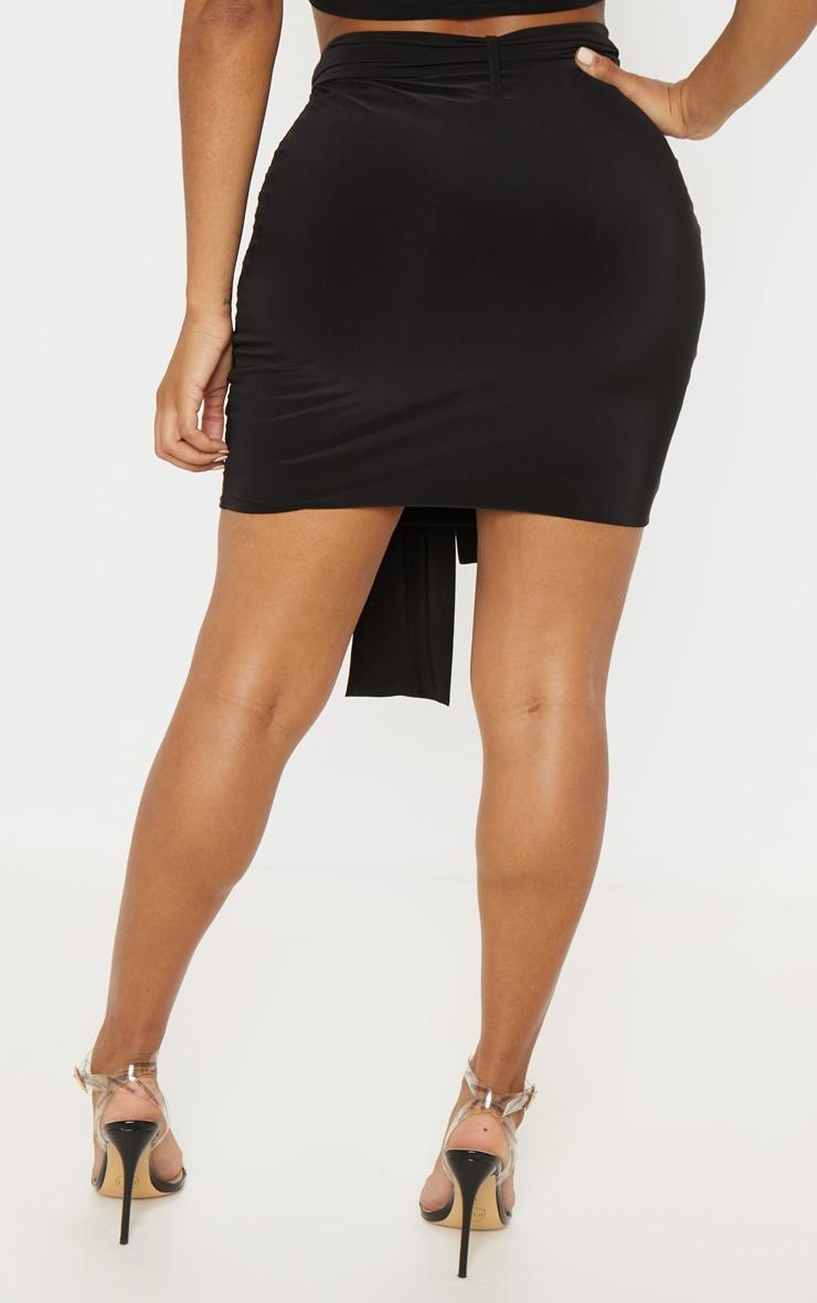 Shape Black Slinky Tie Waist Bodycon Skirt  4