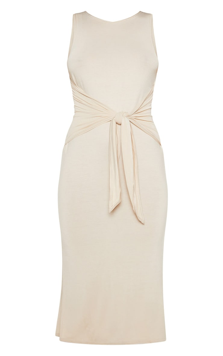 Beige Sleeveless Tie Waist Midi Dress 3