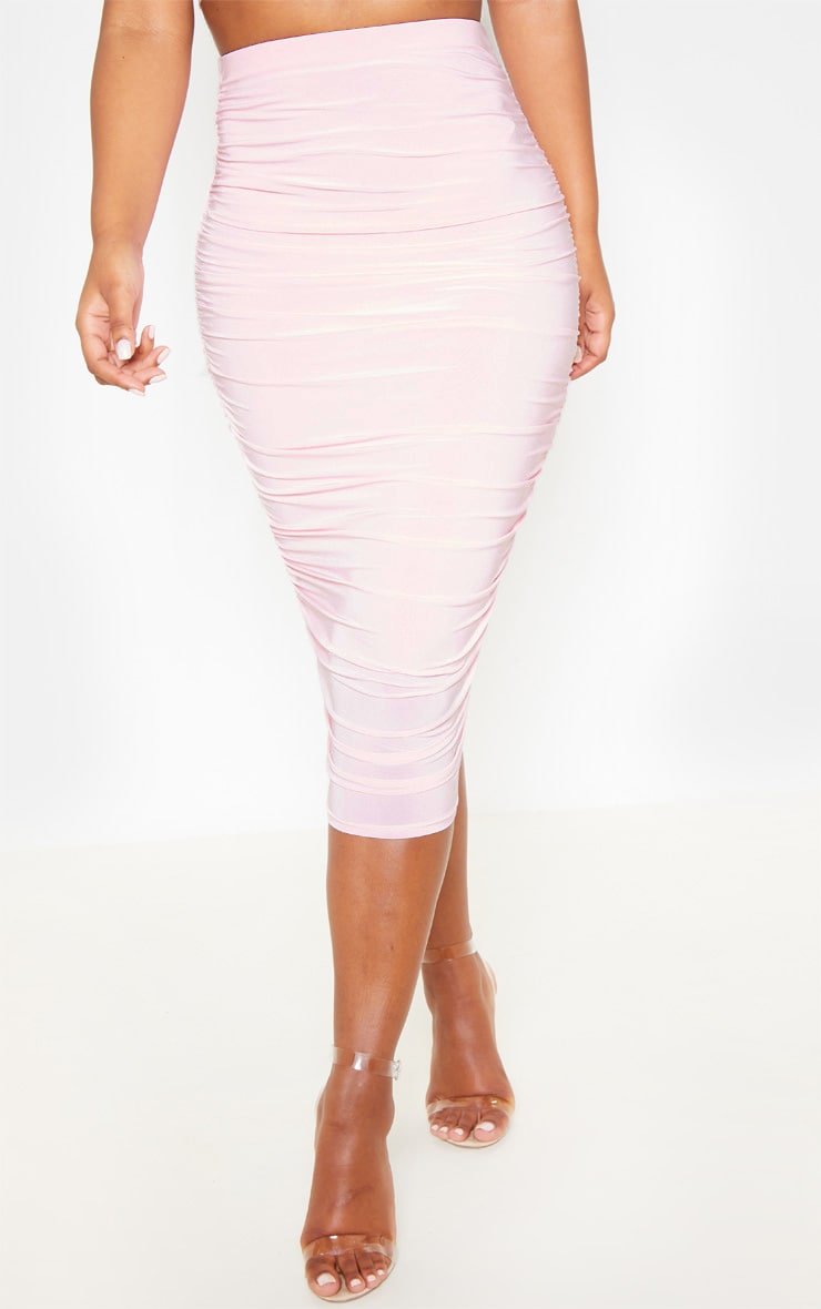 Baby Pink Slinky Second Skin Ruched Midi Skirt 2