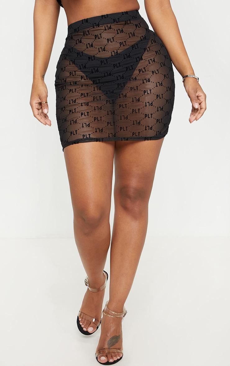 PRETTYLITTLETHING Shape Black Mesh Bodycon Skirt  2