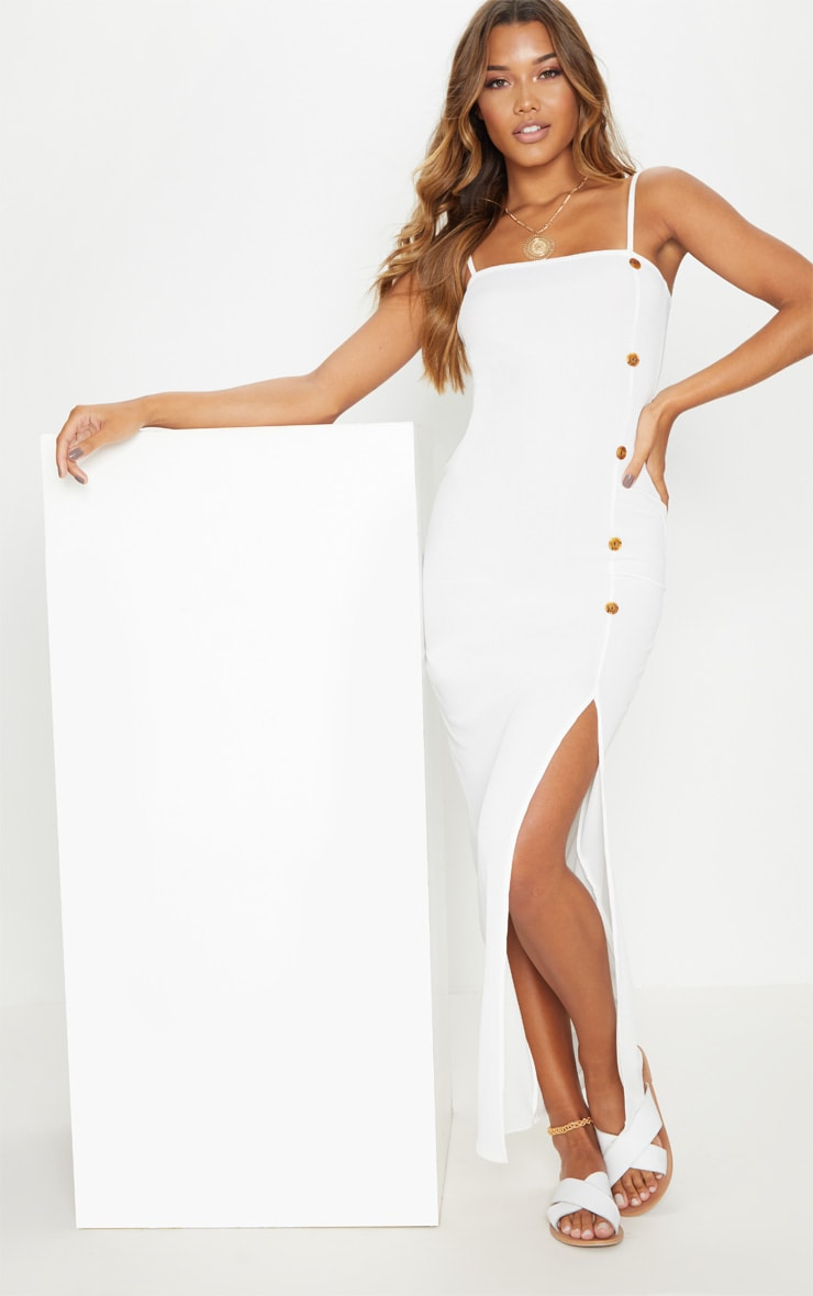 White Ribbed Tortiose Shell Button Maxi Split Front Dress 4