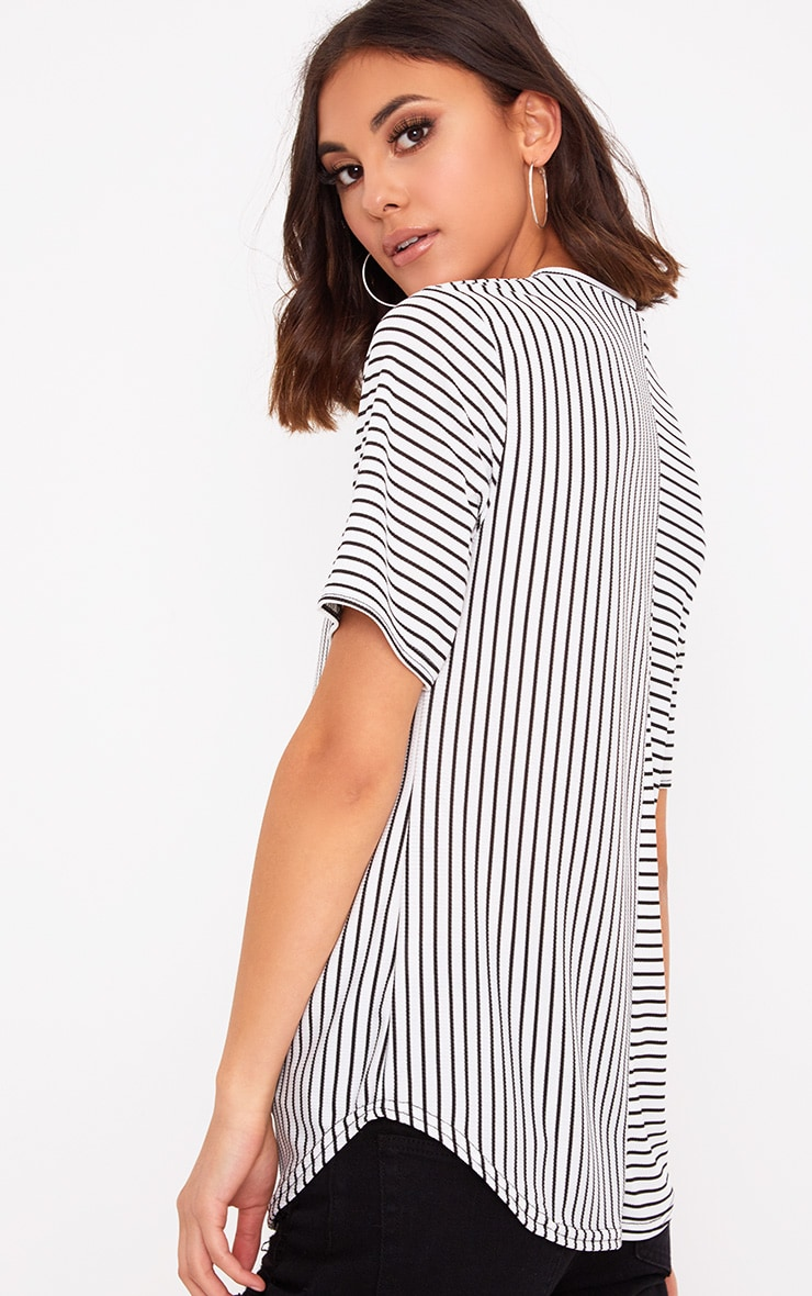 White Contrast Stripe Ribbed T Shirt 2