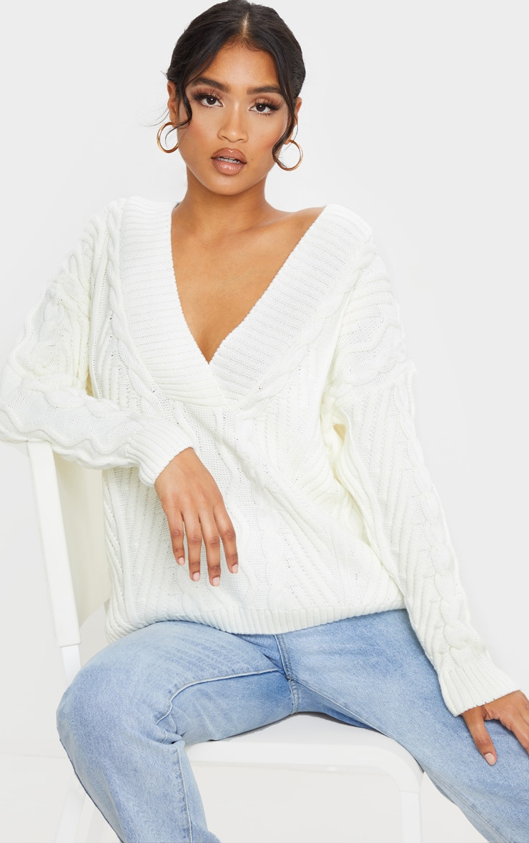 Cream Deep V Oversized Cable Knit Jumper by Prettylittlething