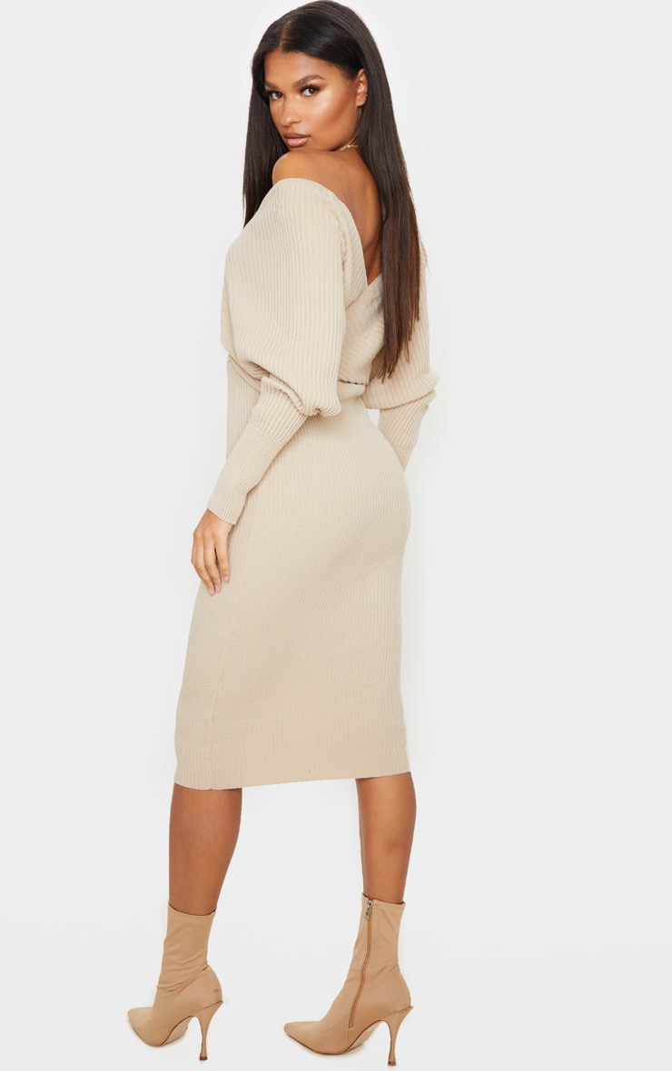 Stone Wrap Off The Shoulder Midi Dress 2
