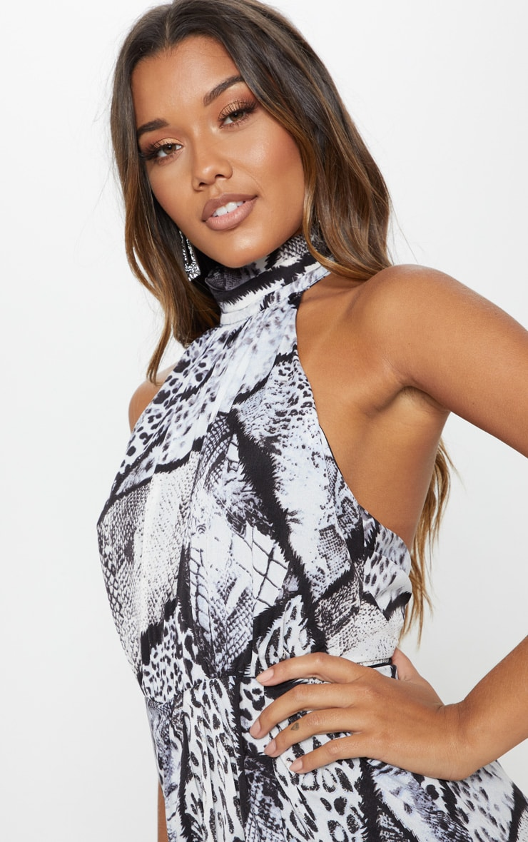 Monochrome Mixed Animal Print Halterneck Wrap Detail Playsuit 5