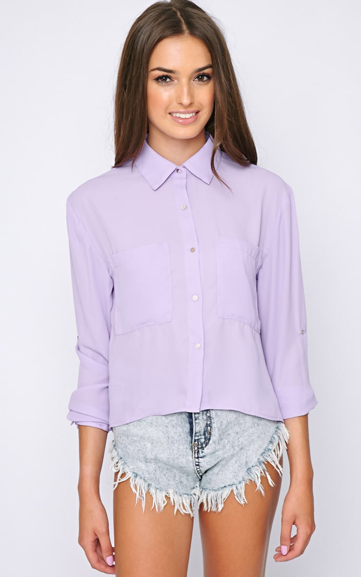 Arya Lilac Cropped Pearl Button Blouse 1